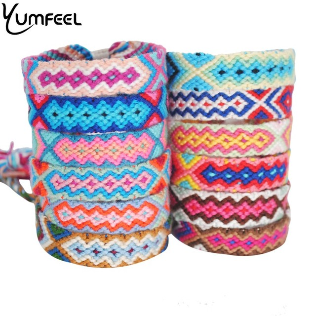 Yumfeel Bohemian Thread Bracelet Retro Handmade Boho Multicolor String Cord Woven Braided Hippie Friendship Bracelets Women Men 1