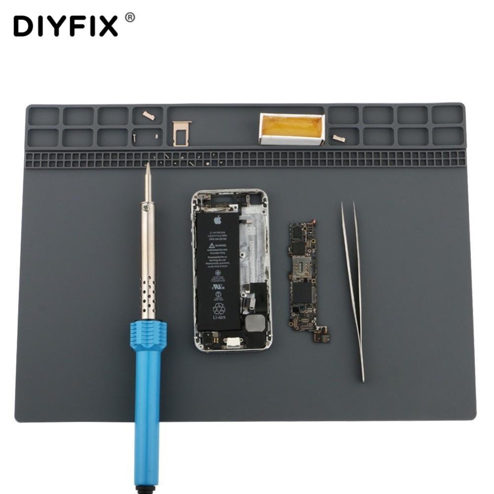 DIYFIX Soft Silicone Work Pad Heat Resistant Insulation Desk Hot Air Gun Station Mat Mobile Phone BGA PCB Soldering Repair Tool