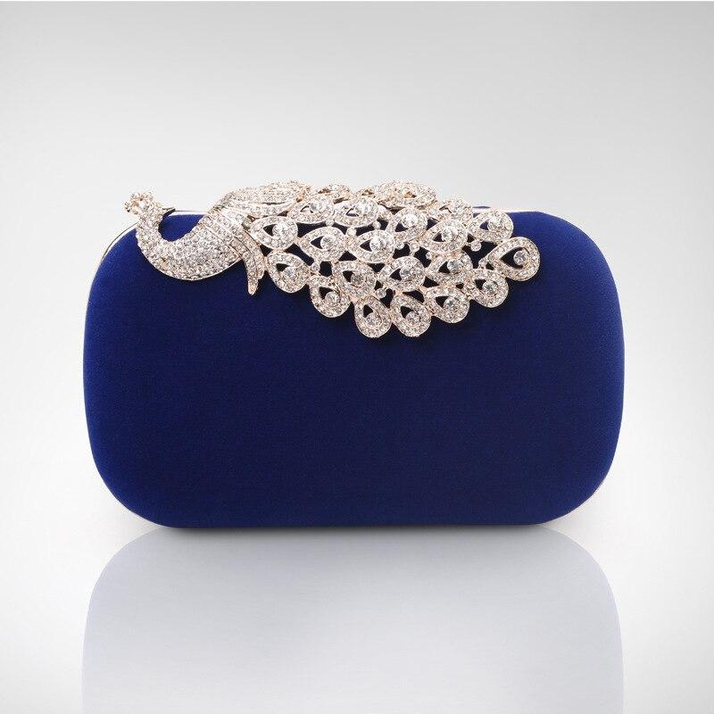 Elegant Peacock Crystal Blue Women Clutch Suede Fabric Formal ...