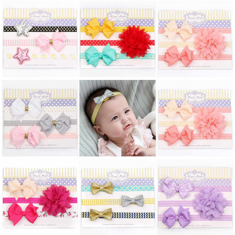 3pcs/set Newborn Girls Pink Flower Headband Silver Star Gold Hair Bow Stretch Elastic Hairbands Purple Floral Birthday Head Band
