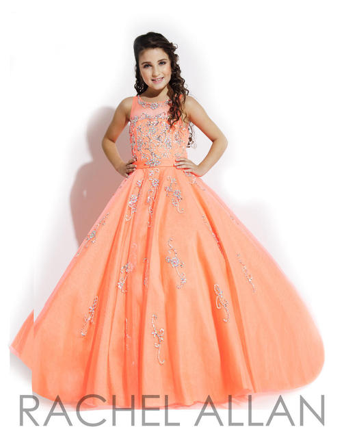 High Quality Little Girls Cute Pageant Dress Elegant Beaded Orange ...