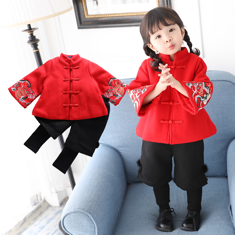 Anlencool 2018 winter Tang set infant girl trumpet sleeve embroidered Chinese style new year costume 2-piece girls clothing set smsl sd793 ii mini hifi headphone amplifier pcm1793 dir9001 dac digital audio decoder amplifier optical coaxial input 24bit