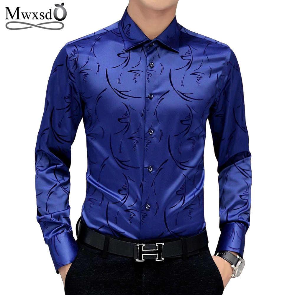 dfe2e54d58f6a Mwxsd brand Men s printed Tuxedo Shirts Wedding Party Dress Long Sleeve  Shirt Silk Tuxedo Mercerized shirt