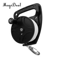 Multi Purpose Underwater Scuba Diving Dive Reel & Handle, Thumb Stopper, 46m Line, Stainless Steel Snap Clip