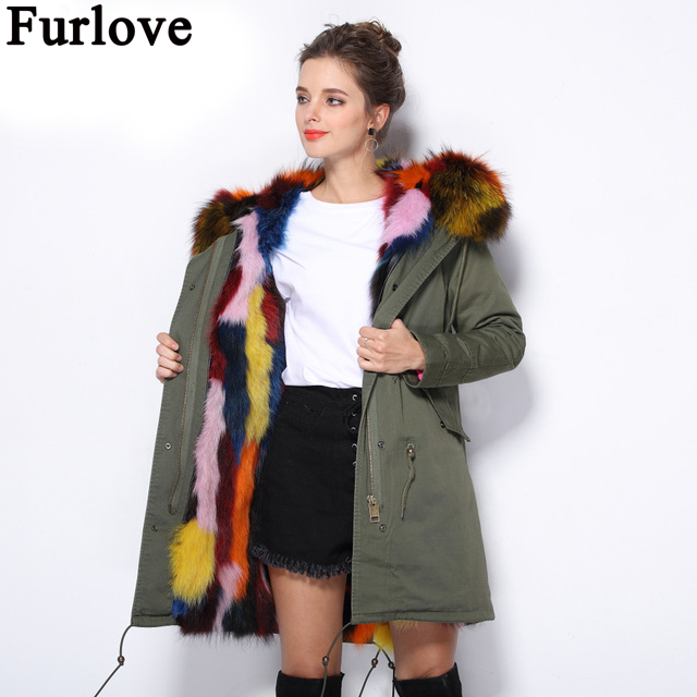 Furlove Winter Women Coats With Natural Raccoon Fur Collar Thick Warm Real Fox Fur Lined Detachable Fur Parka Outwear For Lady red stripe fur inside male coats winter wear keen warm elegant real raccoon fur collar cashmere fur parka