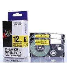 2PCS/ lot 12mm Black on yellow ribbon XR 12YW XR12YW XR-12YW for Ez label printers