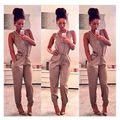 2016 Summer Fashion Women Casual Jumpsuits Sleeveless  Elastic Waist V neck Rompers Long Pants Overalls for Women Playsuit