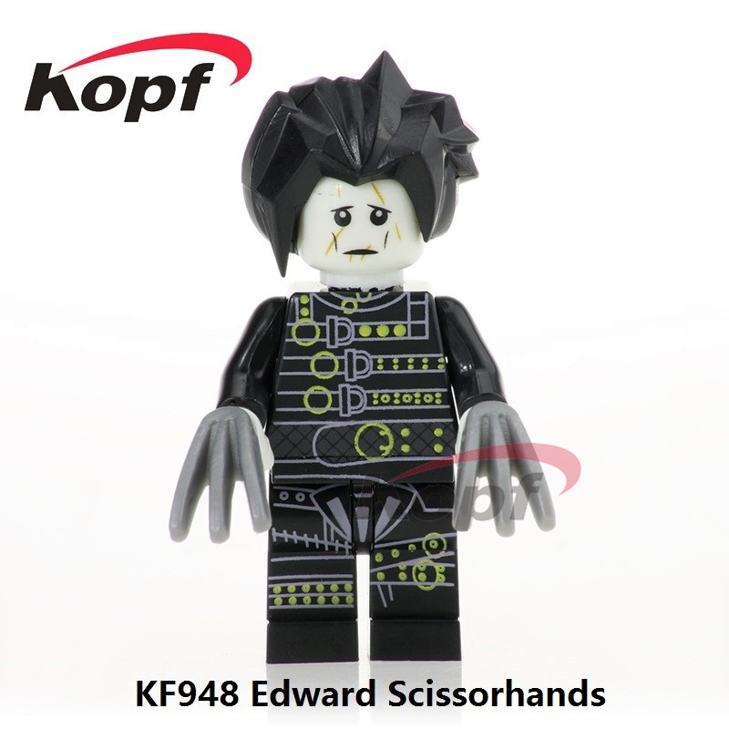 Single Sale Edward Scissorhands Film Movie Super Heroes Cartoon Bricks Action Building Blocks Christmas Toys for children KF948 single sale super heroes master wu garmadon nya the wei snake lloyd bricks ninja movie building blocks children gift toys pg1020