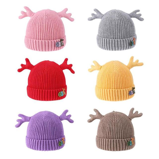 Baby Cap Christmas Dear Antler Hat for Girls Boys Double Thick Warm Caps  Knitted Caps Winter Children s Hats Gifts 353f3a61c533