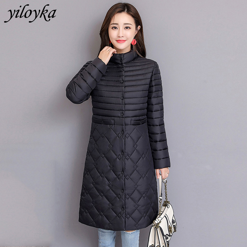 Women Long   Parkas   Mujer 2019 Winter Jacket Coat Fashion Autumn Solid Warm Thin Padded Down   Parkas   Female Tops Clothing Coat
