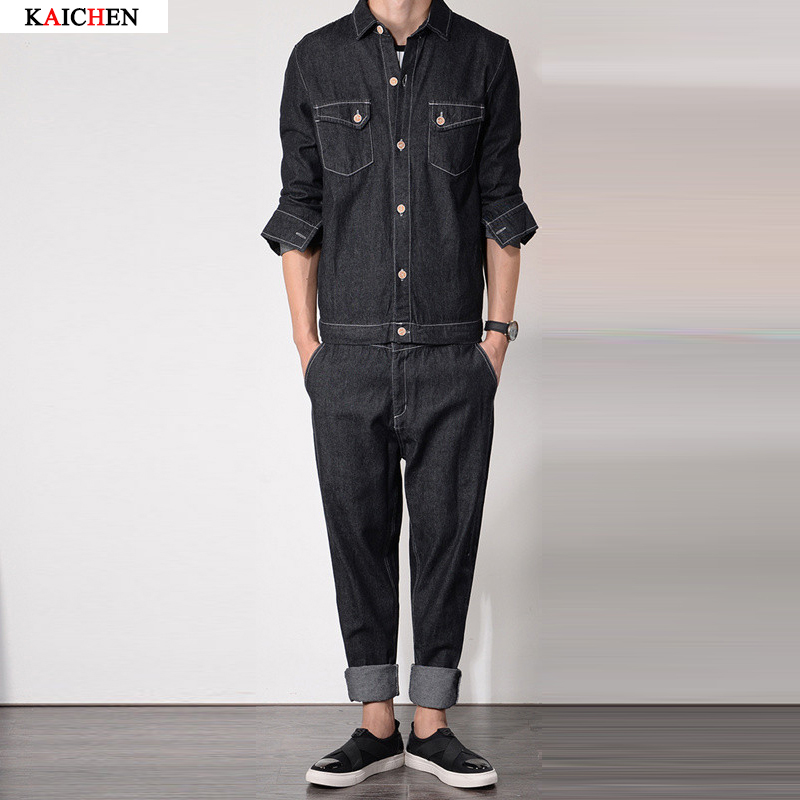 2016 new spring&autumn Fashion Mens jumpsuits overalls jeans fashion work clothes cargo pants casual worker pants trousers