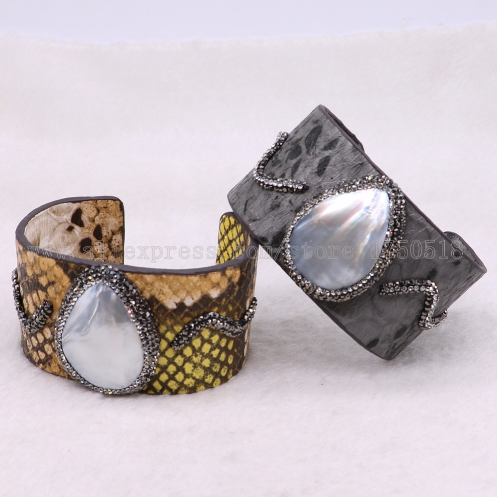 5 pieces shell bangle drop shell stone PU snakeskin bangles wholesale jewelry crafted bangle gems jewelry 3449