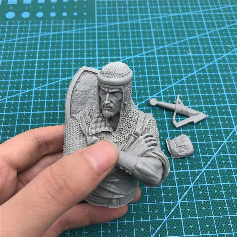 1 10 resina busto modelo kit crusader guerreiro 247d