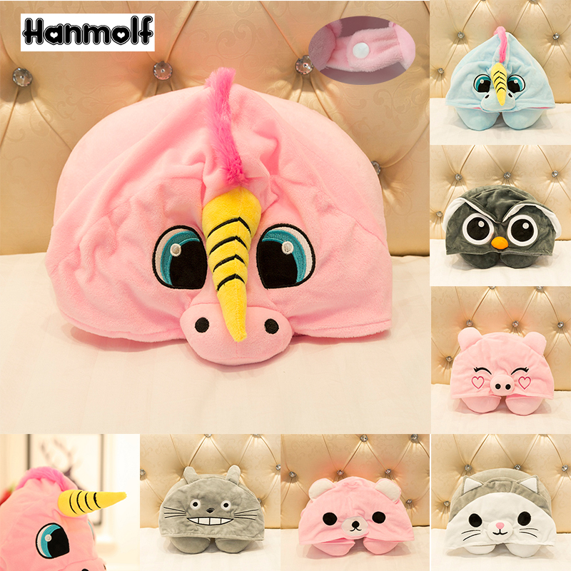 Efficient Cartoon Animals U Shape Neck Pillow With Hoodie Travelers Car Airplane Kids Adults Pink Unicorn/cat/owl/pig/totoro Plush Pillow Toys & Hobbies