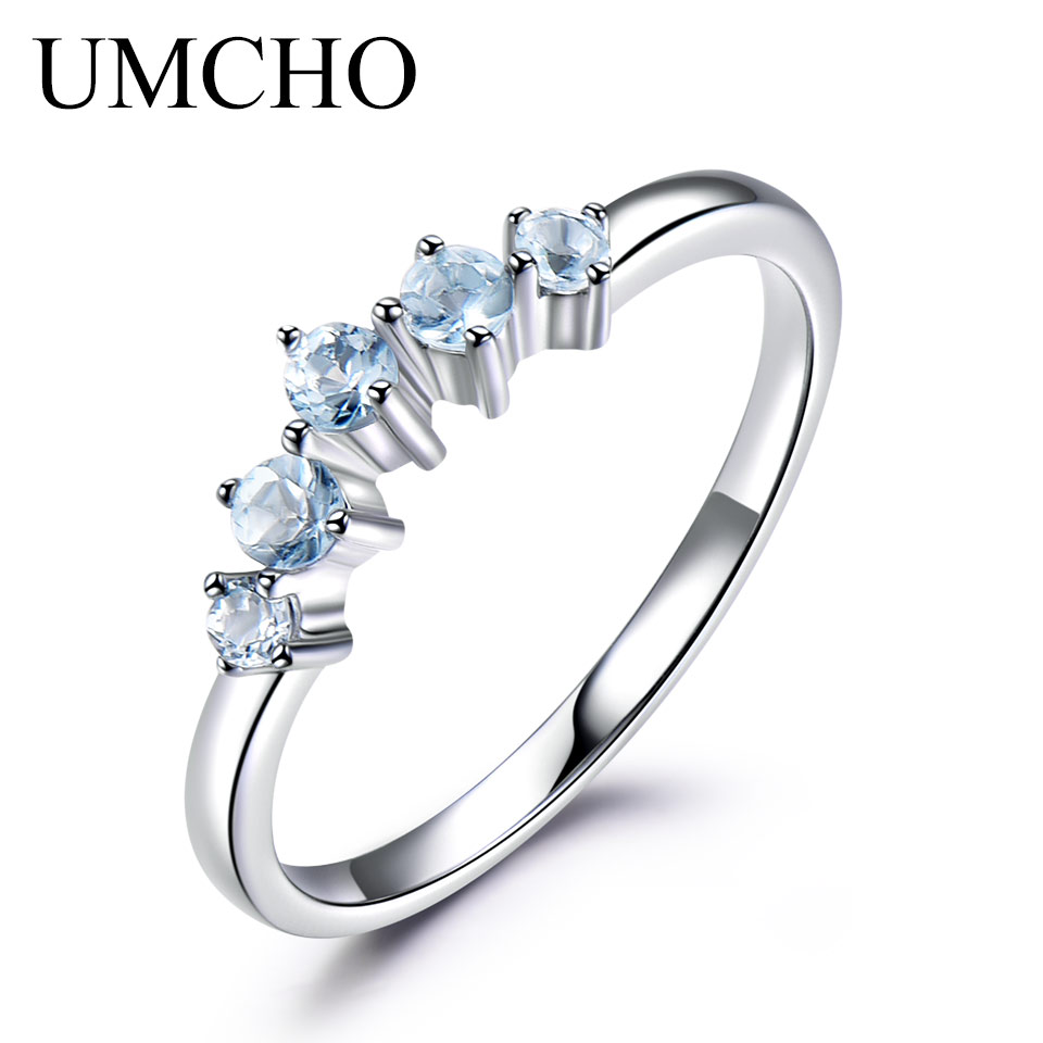 UMCHO Genuine Natural Sky Blue Topaz Ring For Women 925 Sterling Silver Engagement Wedding Stacking Ring