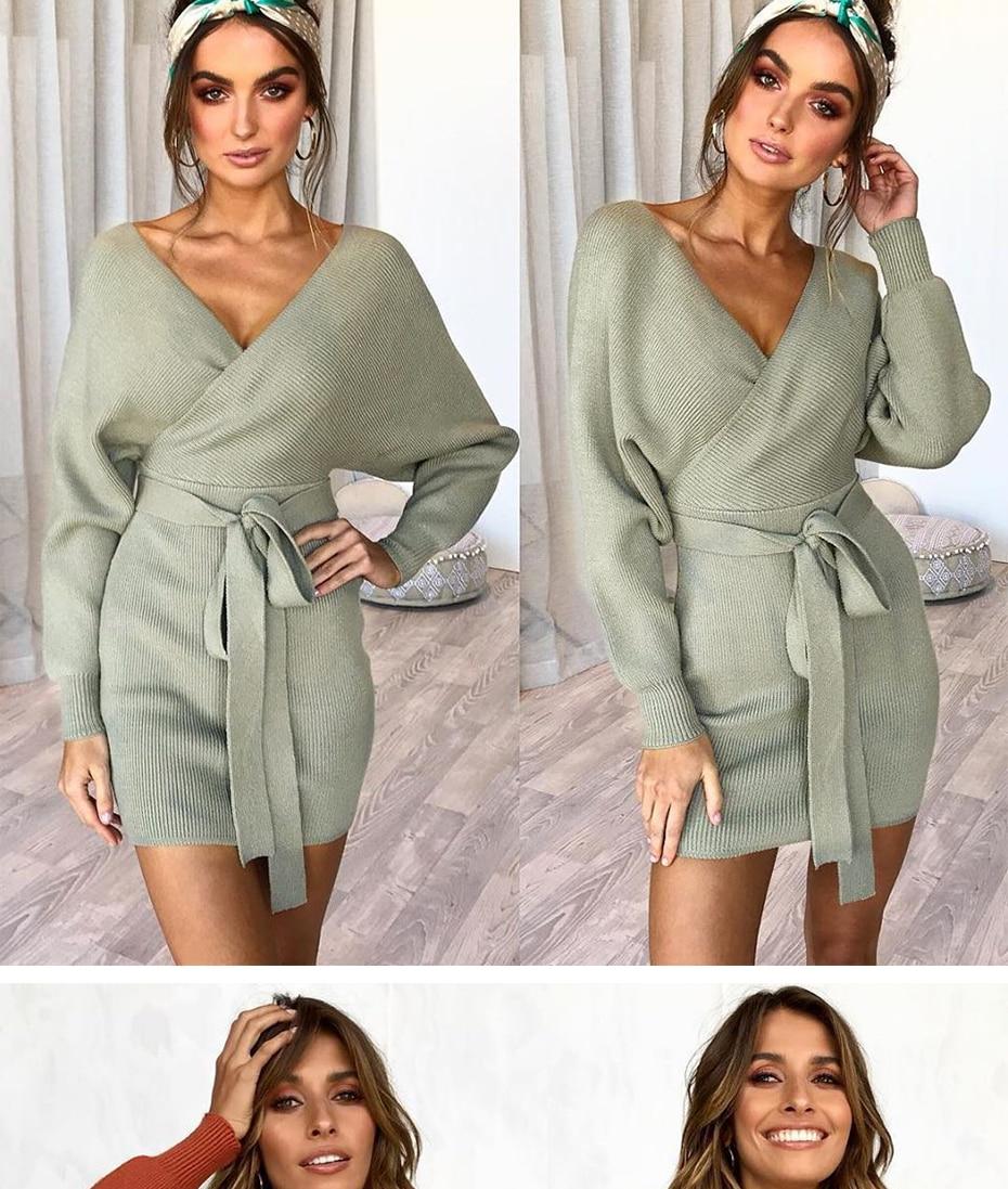 98d82df717 Warm Sweater Dress Women Long Sleeve Bandage Wrap Dress Sexy Mini ...