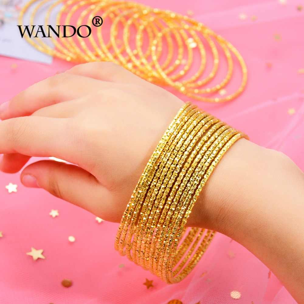 WANDO 12pcs/lot Small Bangle for Girls/Baby Gold Color Charm Beads Bracelet Small Bell/Heart Jewelry Child Party gift wb140