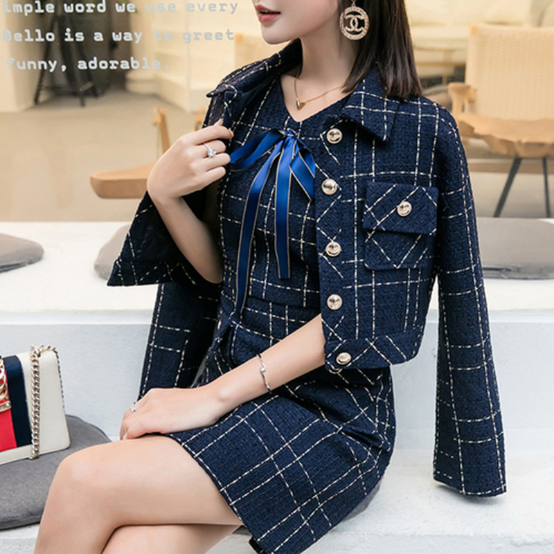 2019 New Autumn Runway Tweed 2 Piece Set Skirt Winter Women White Bow Jacket Coat+ High Waist Mini Tassel Wool Blend Suits