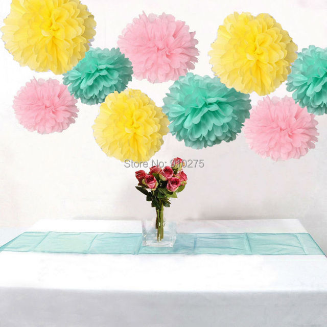18 x mixed pink yellow mint tissue paper pom poms pompoms flower 18 x mixed pink yellow mint tissue paper pom poms pompoms flower balls wedding birthday party mightylinksfo