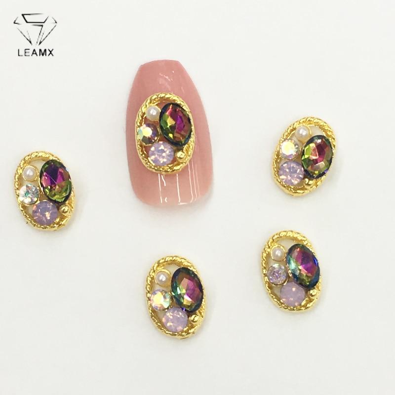 LEAMX 10 PCS/bag AB Glass Gems Rhinestone Oval Shape Nails Art Decorations Metal 3D Crystal Nail Jewelry Shining Nail Decor L448