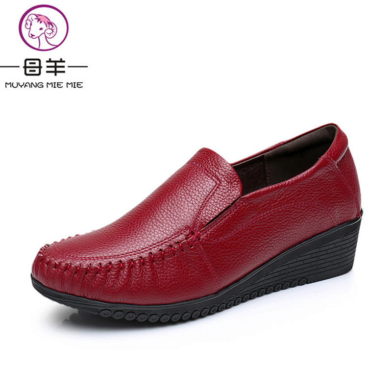 MUYANG MIE MIE Plus Size (34-42) High Heels Female Genuine Leather Wedges Single Casual Shoes Woman Pumps Fashion Women Shoes духовой шкаф electrolux eoa95551ax нержавеющая сталь page 8
