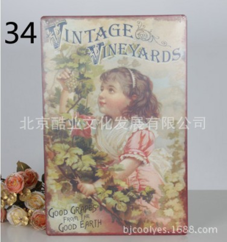 Nostalgia Vintage Iron Painting plaques & signs Wall Sticker Signage Hotel restaurant wall decoration 8X12 inches ...
