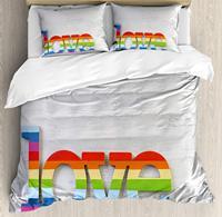 Постельное белье, Радуга Цветной любовь Святого Валентина знак на деревянный фон ЛГБТ гомосексуальности, 4 шт. Постельное белье