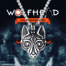 Viking Wolf Head Pendant for men 316L Stainless steel pendant  Celtics Pagan vitage Odin Jewelry viking necklaces wholesale