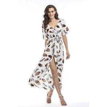 43ea84afdedfece Product Offer. Повседневное отпуск длинное летнее платье пляжное платье  Longue Femme 2018 модные, пикантные цветочный с коротким рукавом ...