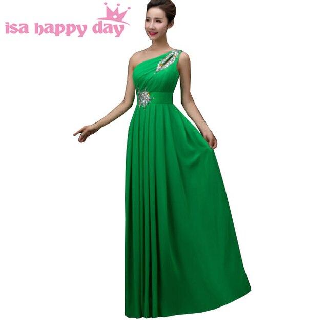 Hermoso más tamaño gasa verde de un hombro baile vestidos largos de ...