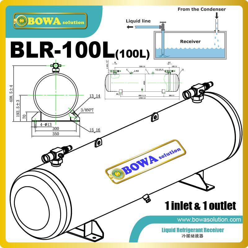 Le récepteur de fréon 100L avec 1 entrée et 1 sortie est utilisé pour les unités de condensation de compresseur à crémaillère ou à vis ou les unités de cascade