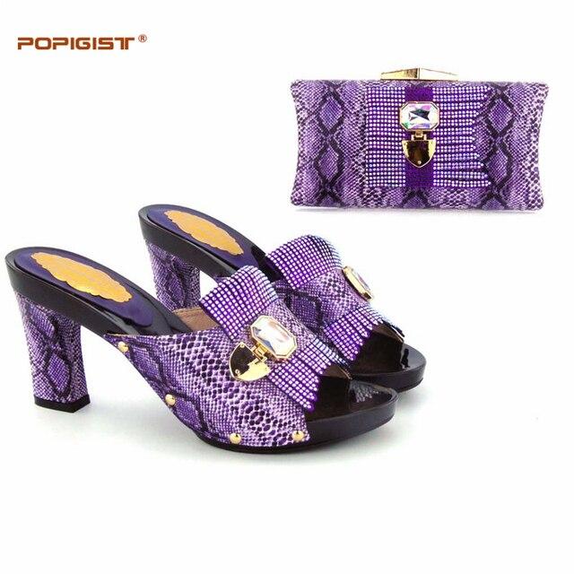 15def8b06772af Italien chaussures assorties sac PU en cuir meilleure qualité par usine  violet correspondant chaussure et sac