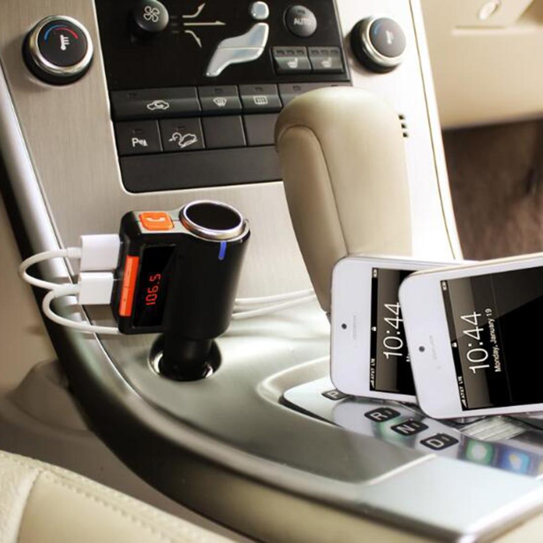 Marsnaska FM transmitter Modulator Bluetooth Handfree Car MP3 Player Radio Adapter Dual USB Cigarette Lighter For CellPhone
