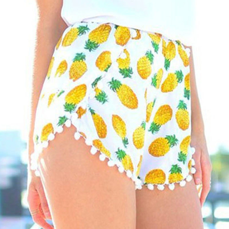 10 styles 2019 Summer Style Pineapple Print Elastic Shorts for Women Ball Tassel Pom Pom Shorts Yellow Bohemian Sexy Shorts