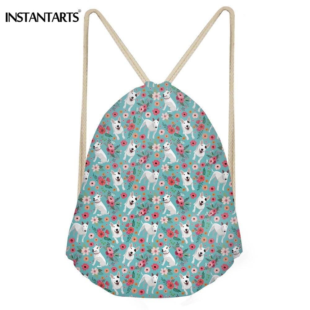 INSTANTARTS Cute Dog Bull Terrier Floral Print Backpack Mini Drawstring Bag for Women Men Teen Girl