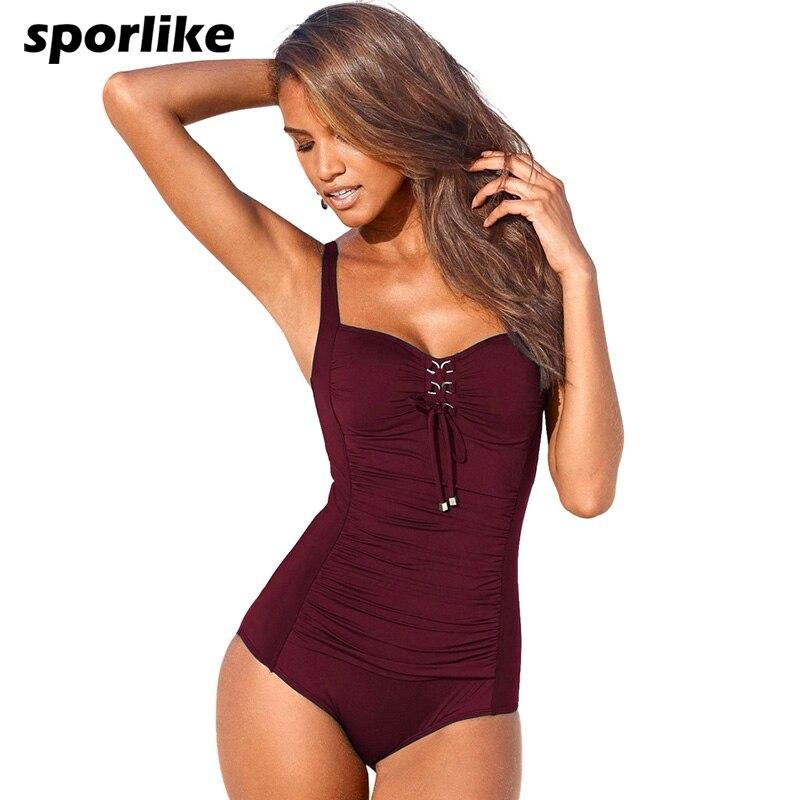 Sporlike One Piece Swimsuit 2017 New Plus Size Swimwear Women Black Solid Swimwear Vintage Retro Bathing Suits Monokini Swimsuit plus size scalloped backless one piece swimsuit