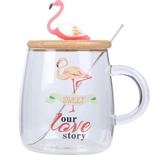 Creative Pink Flamingo 450ml Heat-resistant Glass Mug Water Bottle
