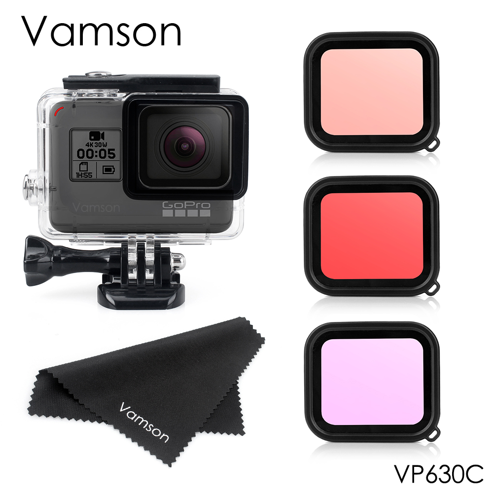 Vamson 45M Diving Waterproof Housing Case + Dive Color Lens Filter Kit For GoPro Hero 8 7 Black 6 5 Camera Accessories VP630C
