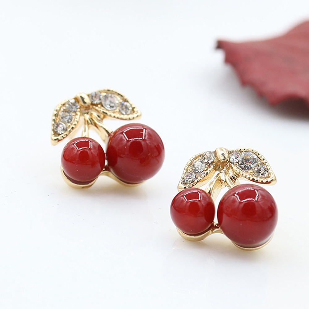 Cheap Price Fashion Brilliant Cherry Sakura Long Line Stud Earrings Oorbellen Without Auricula Hole Ear Clip For Women Jewelry Brincos Gif Orders Are Welcome. Stud Earrings