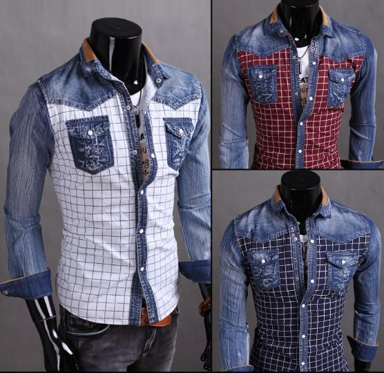 The 2015 autumn of new font b tartans b font Korean fashion denim long sleeved slim