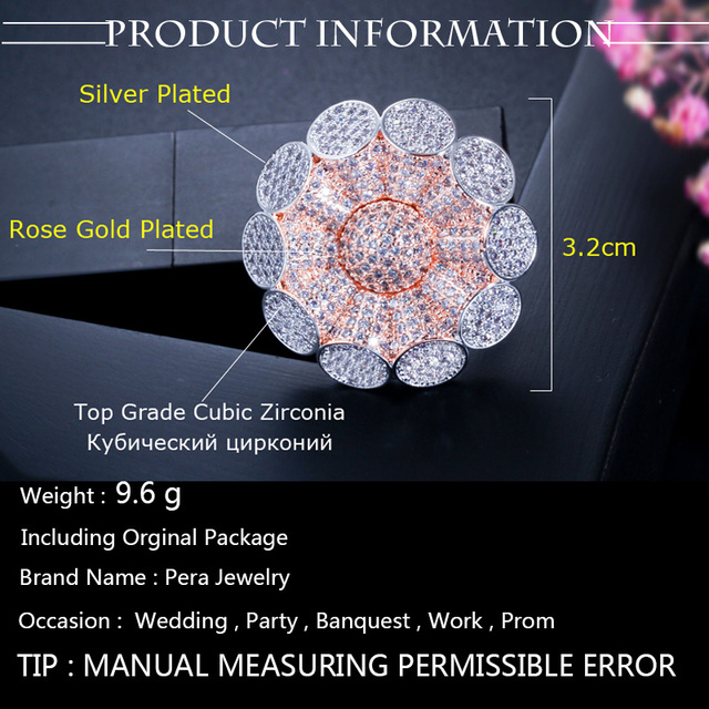 Pera Luxurious Big Statement Rose Flower Shape Cubic Zirconia Micro Pave Women Engagement Party CZ Finger Ring Jewelry Gift R099