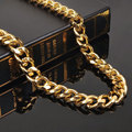 WAWFROK Gift Customized Wide Mens Chain Necklace Curb Cuban Link Gold Plated Necklace Stainless Steel Necklace Jewelry N-162