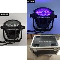(16pcs+Flight case)Lighting equipment led par rgbwa uv 18 x 18 watt 6 in 1 led par outdoor rgbwa uv par led light flight case