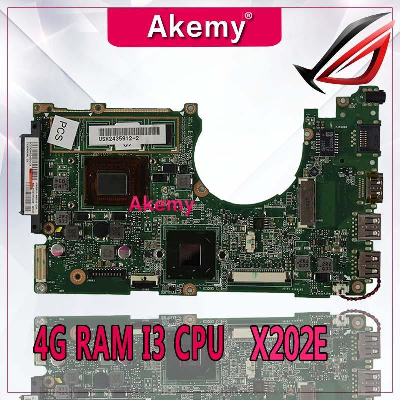 Akemy X202E Laptop motherboard for ASUS X202E X201E S200E X201EP Test original mainboard 4G RAM I3