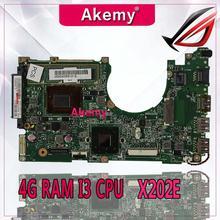 Akemy X202E материнская плата для ноутбука ASUS X202E X201E S200E X201EP test оригинальная материнская плата 4G ram I3 cpu
