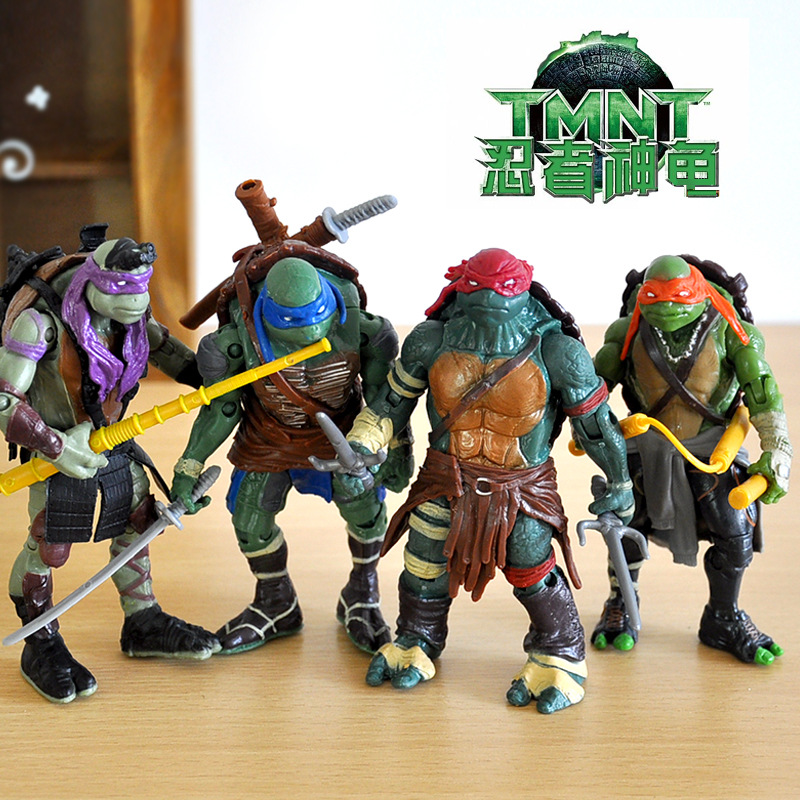 4PCS Cartoon Model Turtle Ninja Doll Hand Model Car Accessories Joint Movable Weapons Action Figures Children Gift Toys