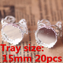 20 шт. кольцо настройки корона лоток 15 мм латунь посеребренные кольца базовые настройки аксессуаров выводы