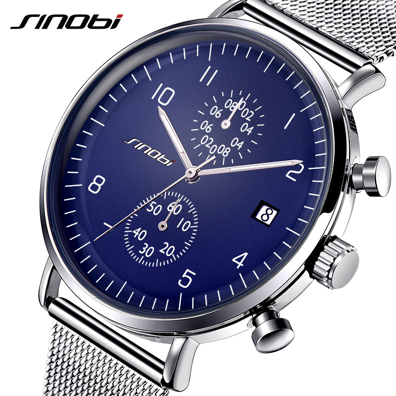 SINOBI 2017 Mens Watches Top Brand Luxury Business Quartz Watch Luminous Pointer Men Sport Waterproof Clock