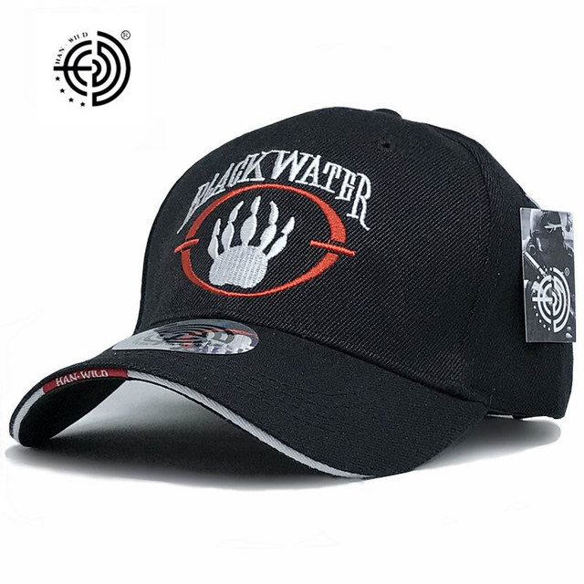 11826d11f64  HAN WILD  Brand American Blackwater Hats Mens Baseball Caps Closed  Snapback Travel Baseball Cap Letter Black Water Army Cap