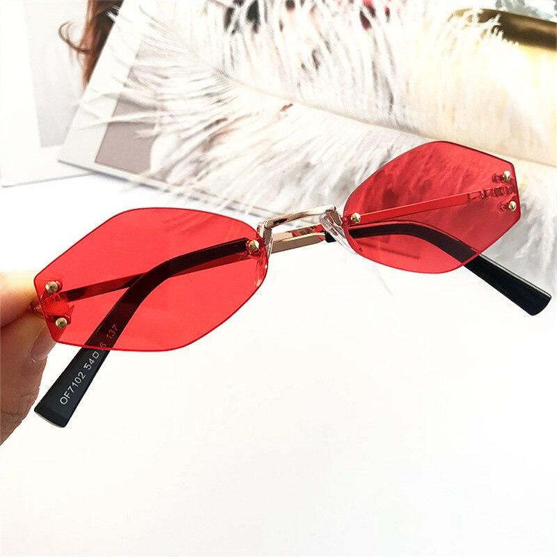 KUJUNY vendimia pequeño marco gafas de sol sin marco polígono gafas de sol de los hombres de moda masculina mujer Driving Eyewears Rhombus gafas